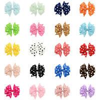 1 piece Girls Hair Pin Polka Dot Grosgrain Ribbon Fishtail Bow Clip Headwear