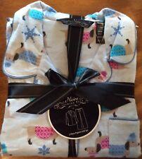 Nwt Blue Flannel Winter Dachshund Dog 2 Piece Pajama Set Xl
