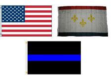3x5 USA & New Orleans Louisiana & Police Blue Line Flag Wholesale Set 3'x5'