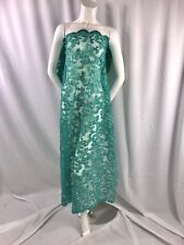 Jade Corded Flowers Embroider With Sequins On Mesh Lace Fabric-Dresses-By Yard.