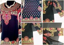 Indian/Pakistani Kurti kurta Designer Crepe tops blouse BLACK-Tunics women Large