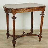 Tavolino tavolo antico da salotto soggiorno in legno intagliato d'epoca italiano