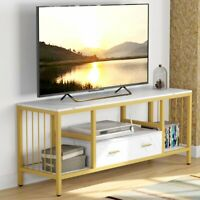 "Tribesigns 55"" White TV Stand with Drawer 3-Tier TV Console Sofa Entryway Table"