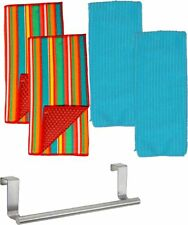 Kitchen Dish Drying Mats with Dish Towels and Over the Cabinet Towel Hanger