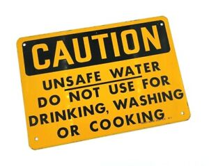 """VINTAGE Ready Made Sign Co. Antique Metal Sign """"CAUTION UNSAFE WATER DO NOT..."""""""