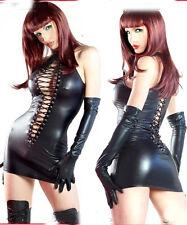 Sexy PVC look Black Faux Leather Gothic Fetish lingerie Bondage Mini dress 710