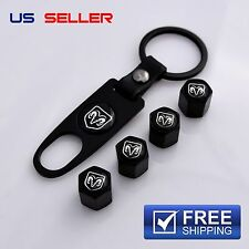 DODGE VALVE STEM CAPS + KEYCHAIN WHEEL TIRE BLACK - US SELLER VS16