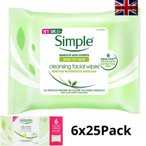 Simple Kind to Skin 150 Cleansing Facial Wipes Removes Waterproof Mascara NEW