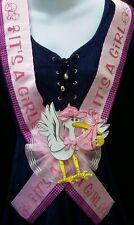 Baby Shower Party MOM TO BE SASH,Pink/Girl,Ribbon favors,niña,Corsage/Gift/Stork