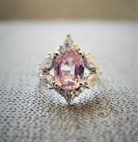 3ct Oval Cut Pink Sapphire Diamond Cocktail Engagement Ring 14k White Gold Over