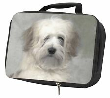 More details for white tibetan terrier dog black insulated school lunch box bag, ad-tt1lbb