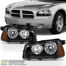 Black 2006-2010 Dodge Charger Headlights Headlamp W/Corner Lights 06 07 08 09 10