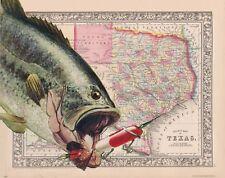 Largemouth Bass Fishing Anglers Club Texas Map Art Print Vintage Lures MAP27