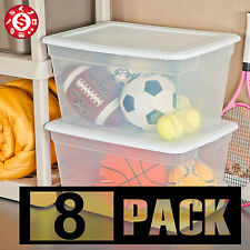 8 Large Plastic Tote Storage Bin 58 qt Container Clear Stackable Box w/ Lid Set