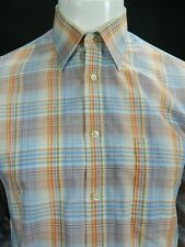Mens Vintage John Henry Blue Orange Green Plaid Long Sleeve Button Up Shirt M