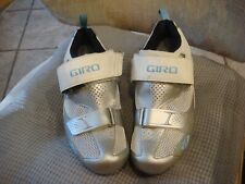 Giro Women's Size 41 Flynt Tri Road Cycling Shoes Silver/White/Milky Blue U.S 9