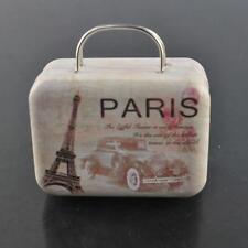 Suitcase Tinplate Metal Trinket Candy Jewelry Storage Box【Paris Eifful Tower】