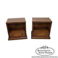Drexel Plaudit Vintage Pair of Walnut 1 Drawer Nightstands