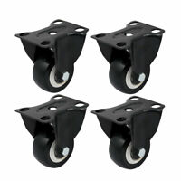 4Pcs 2-inch Diameter Single Wheel Rigid Non-Swivel Top Plate Fixed Caster Black