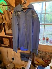 House of Lords Cross Rhinestones Studs Long Sleeve Button Shirt Mens Large