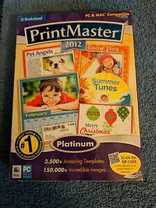 Broderbund PrintMaster 2012 Platinum software. Free shipping.