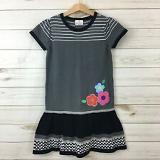 Hanna Andersson Girls Gray/Black SS Floral Applique Sweater Dress. Size 130(8).