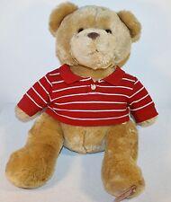 Aeropostale AERO Holiday Plush Brown Bear Stripped Polo Shirt Preppy Frat Bear