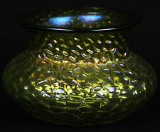 Antique Art Glass Vase Martele Hammered Iridescent Lime Yellow Green Nouveau Era