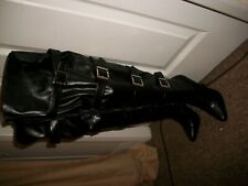 """th2   Sexy Leather Look Fetish Buckled Thigh High Black 5"""" Heeled Boots UK 2.5/3"""