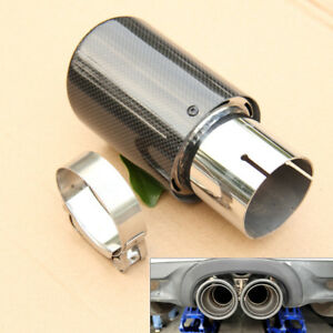 100% Carbon Fiber Exhaust Tailpipe Tip 63mm Clamp-on Car Muffler Trim Cover Kit