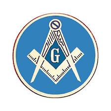 Round Masonic Car Emblem Compass & Square over Blue - Masonic Car Emblem Disc