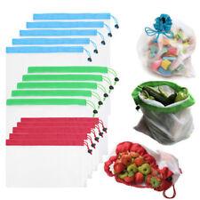 15PC Reusable Freezer Food Drawstring Storage Produce Ziplock Bags Mesh Tea Bag