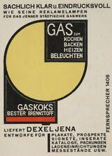Gas for cooking, baking, heat, light, Walter Dexel, 1923,  Bauhaus Poster