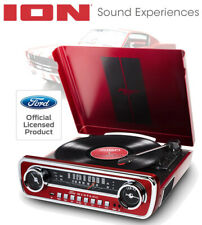 ION 1965 RED FORD MUSTANG LP CAR-STYLED TURNTABLE RECORD PLAYER - USB - AM/FM