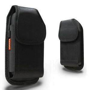 Black Rugged Nylon Holster Pouch Case Belt Clip fits w/ Otterbox Thick Case On