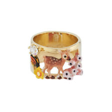 Les Nereides Fawn Deer Meadow Flower Rhinestone Enamel 14K Gold Plated Ring N 54