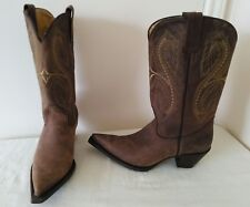 Ladies JE-VER Brown Leather pointed toe cowboy style fashion boots Size 7.5- 8