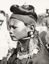 1934 Vintage 11x14 ~ ASIA ~ Myanmar Native Padaung Tribe Girl Jewelry Photo Art