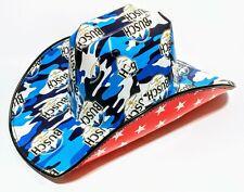 """2021 BLUE CAMO Patriotic Anheuser """"BUSCCCHHHHH"""" COWBOY Cowgirl Beer Case Box HAT"""