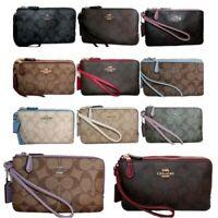 Coach Double Zip Wristlet F87591 Signature PVC Leather Trim Wallet Clutch
