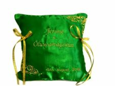 Personalised Embroidered Wedding Ring Bearer Cushion Pillow Emerald Green Gold