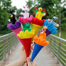 6Pcs Cartoon Animals Pop Up Cone Puppets Telescopic Stick Rods Doll Baby Toys