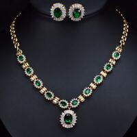 CWWZirconia Grün Zirkonia Halskette Ohrringe Gold Hochzeit Schmuck Jewelry Sets