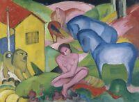 "Franz Marc Vintage Abstract Art CANVAS PRINT Der Traum Horses poster 16""X12"""