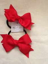 Madelienas Handmade. Girl School Double Bow Hair Ties/RED a Set