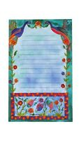 MAGNETIC NOTEPAD WITH FLOWERS - Jewish Gift - Judaica Art - Made in Israel