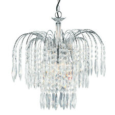 Searchlight 4173-3 WATERFALL Chrome 3 Lamp Pendant/Crystal Buttons & Drops