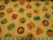 Dinosaur Train Cotton Fabric Dinosaur Train Hide & Seek w/ Buddy Patch Yellow