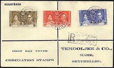 Seychelles 1937 Corination sg 132-4  12 May 1937 FDC