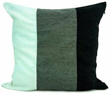 "Set of 4 Chenille 3 tone Black Grey White Cushion and covers filled 17""x 17"""